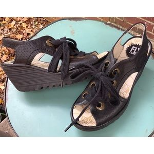 Fly London Yiva Wedge Lace Up Shoes 37 6.5-7